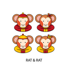 Rat Chinese Happy New Year Vector Illustration
