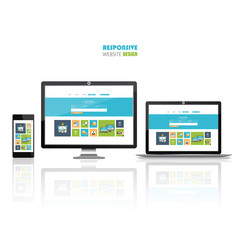 Flat responsive web design concept website development devices