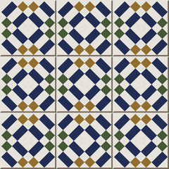 Vintage seamless wall tiles of diamond check square geometry. Moroccan, Portuguese.