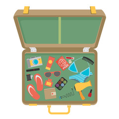 Packed suitcase for summer holiday - vector illustration