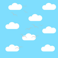 Clouds in the sky with the birds. Vector Blue background, texture, pattern