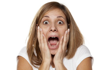 shocked young woman without make-up