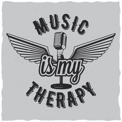 Music is my therapy label design for t-shirts, posters, logos, greeting cards etc.