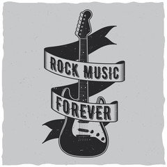 Rock music forever label design for t-shirts, posters, logos, greeting cards etc.