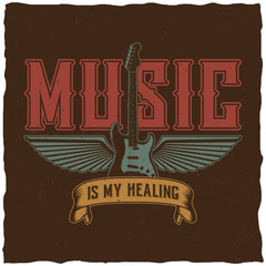 Music is my healing label design for t-shirts, posters, logos, greeting cards etc.