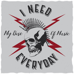 I need my dose of music everyday label design for t-shirts, posters, logos, greeting cards etc.