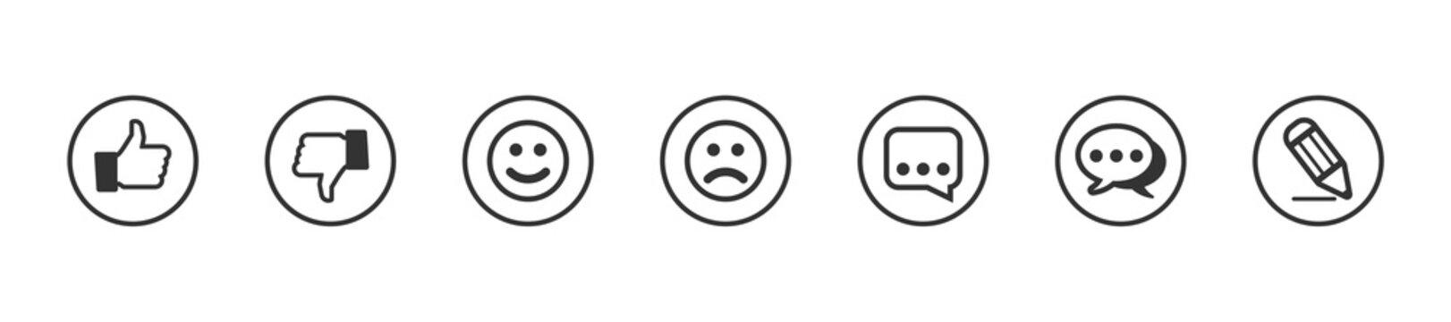 Feedback icon button set