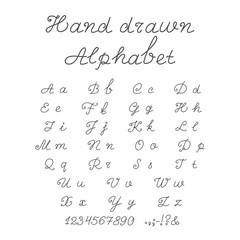 Hand-drawn Alphabet Isolated on White Background