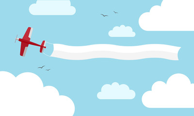 Plane with banner. Vector illustration