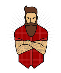 Male beard and tattoos. Vector illustration