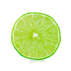 Slice of fresh lemon isolated on white background