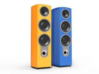Blue and orange speakers