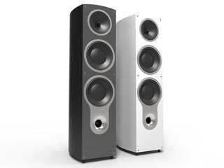 Modern hi-tech black and white speakers
