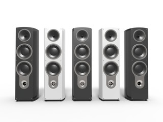 Modern black and white speakers - front view