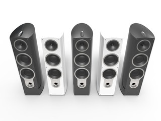 Modern black and white speakers - top view