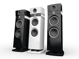Hi-tech speakers - black and white