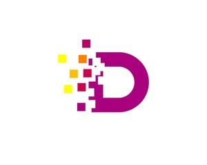 Purple Pixel D Letter Logo
