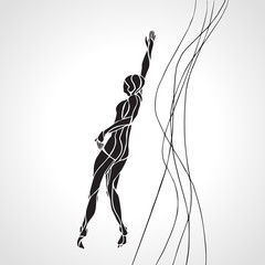Freestyle Swimmer Female Silhouette. Sport swimming