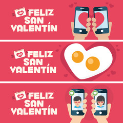 Happy Valentines day card. 3 banner for Valentines Day promotion. Toast, fried egg and mobiles
