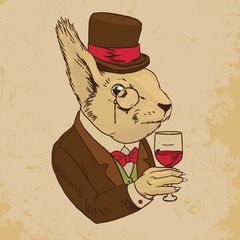 Dressed Squirrel With Glass of Wine And Top Hat