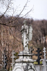 Old tombstone sculpture of an angel with broken arm and wings on the cemetery.