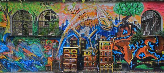 graffiti on the street in Milan