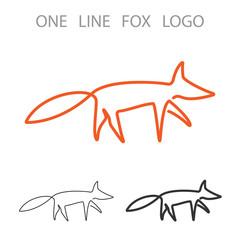 Fox. One Line Logo. Minimalism Style Logotype. Vector
