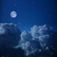 Fantastic Aerial view of Night Sky - Clouds, Stars and the