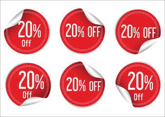 10 percent off red paper sale stickers