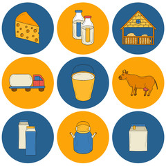 Milk production icons