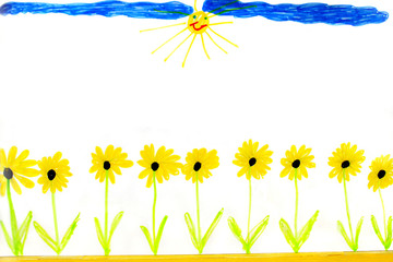 child's drawing of summer yellow flowers