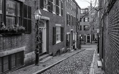 The historic streets of Boston in Massachusetts, USA.