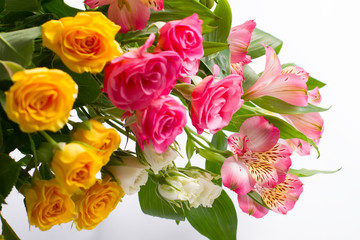 Different roses and freesia.