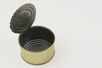 Open tin can on a white background