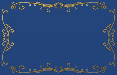 royal blue background with metallic gold border design of fancy curls and flourishes in Victorian pattern, ornate lines and design elements with blank center copyspace