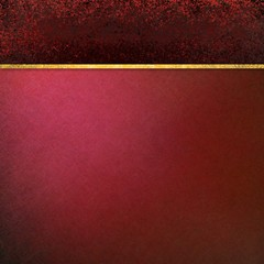 burgundy red background with black grunge header and gold ribbon stripe