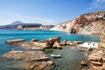Beautiful natural colors of Firiplaka beach, Milos, Greece