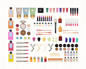 Realistic set of cosmetics on white wooden background