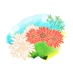 Beautiful hand drawn flowers on watercolor background. Vector illustration