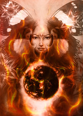 Painting Goddess Woman with bird phoenix on your face  with ornamental mandala and butterfly wings and color abstract background  and eye contact, and fire with desert crackle.