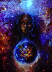 Beautiful Painting Goddess Woman with ornamental mandala and  Color space background with stars.