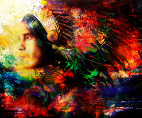 beautiful painting of a young indian warrior wearing a gorgeous feather headdress, profile portrait, abstract color background.