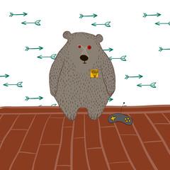 Grey bear in vector
