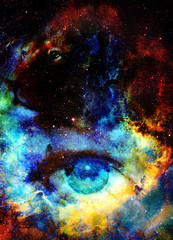 Goodnes woman eye and lion in space with galaxi and stars. profile portrait, eye contact.