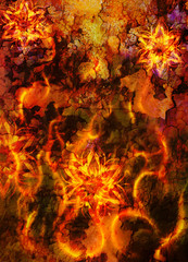 oriental ornamental mandala and color abstract background with fire flame and woman face, LAVA structure. Earth Concept..