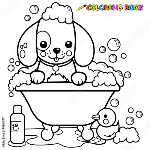 Dog taking a bath coloring book page\