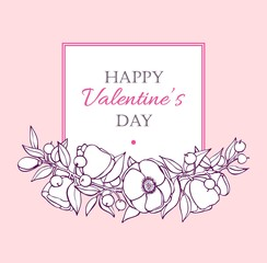 Happy Valentines Day card with hand drawn botanical flower branc