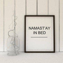 Namast'ay in bed. Namaste yoga art. Bedroom decor. Yoga gift idea. Motivation art. Inspirational quote.Home decor wall art. Scandinavian style home interior decoration