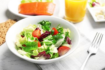 Fresh vegetable salad. Healthy food and diet concept