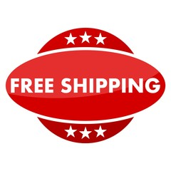 Red button with stars free shipping